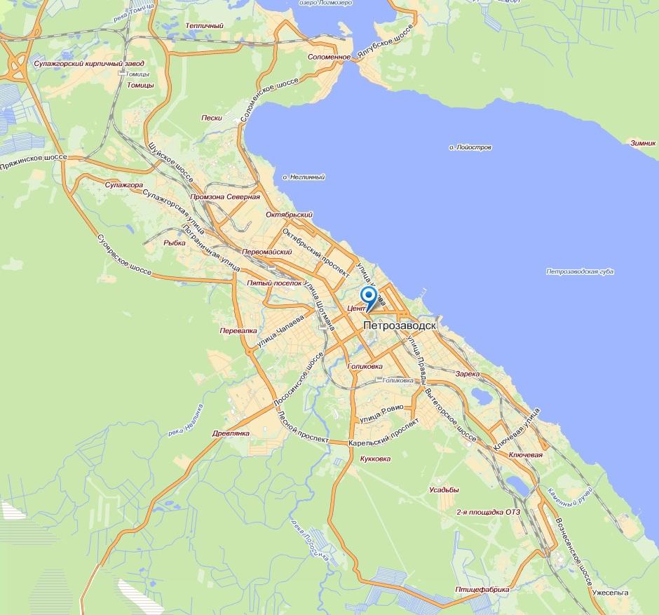 Карта районов Петрозаводска