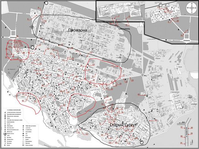 Карта районов Сургута