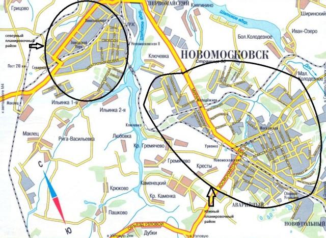 Карта Новомосковска