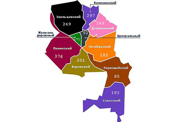 Карта районов Новосибирска