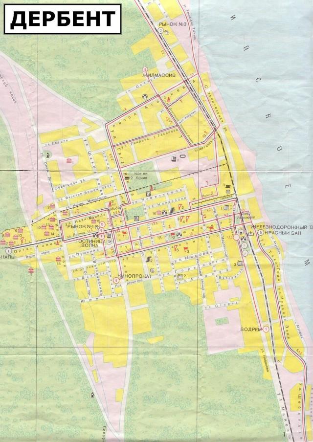 Карта Дербента