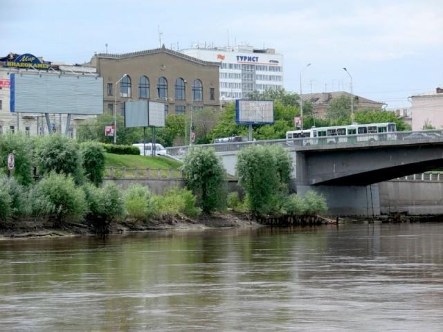 На снимке видно насколько сильно упал уровень воды в реке Омь