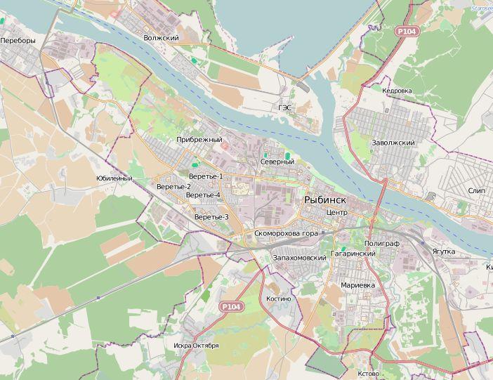 Карта Рыбинска