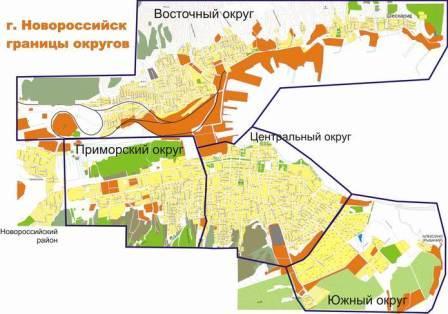 Карта округов Новороссийска