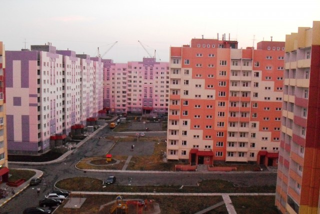 Один из новых микрорайонов города