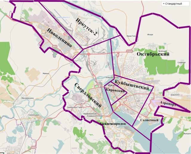 Карта Иркутска