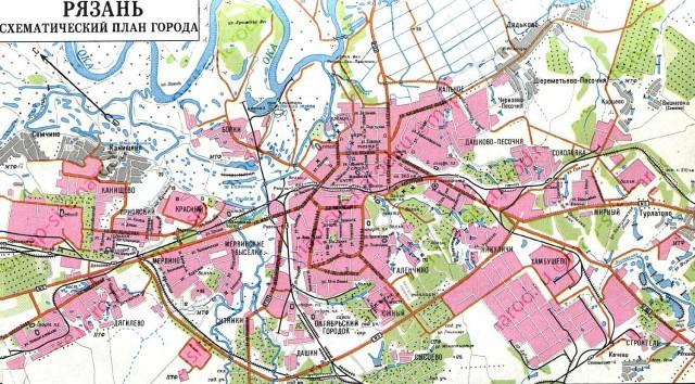 Карта Рязани