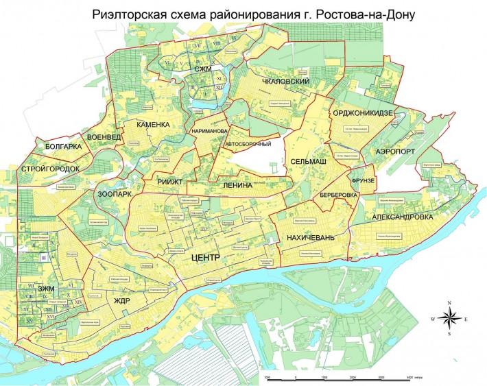 Карта районов Ростова