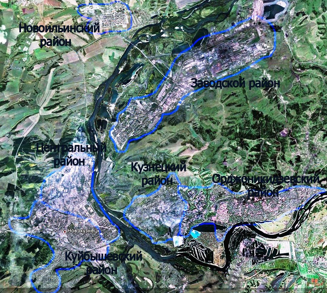 Карта районов Новокузнецка
