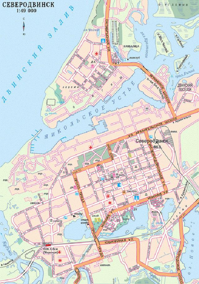 Карта Северодвинска