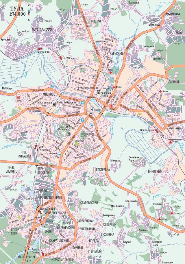 Карта Тулы