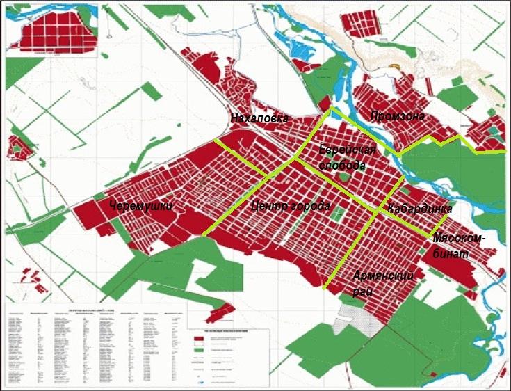 Карта районов Армавира