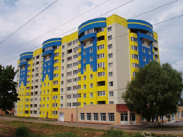 Жовто-блакитные дома в Колычёво, ул. Флотская