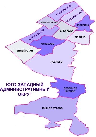 Карта Юго-Западного округа Москвы