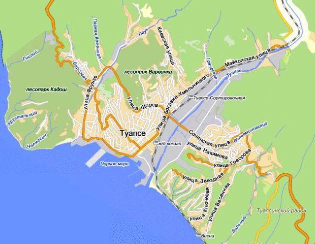 Карта Туапсе