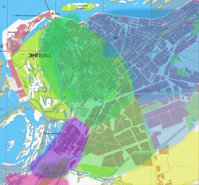Карта Энгельса. Районы