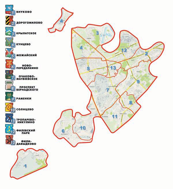 Карта Западного округа Москвы