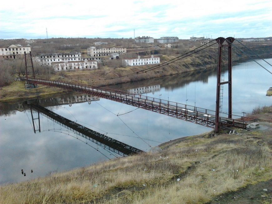 Мост на закрытый посёлок Рудник. Далее будут фото самого посёлка