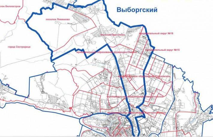 Карта Выборгского района