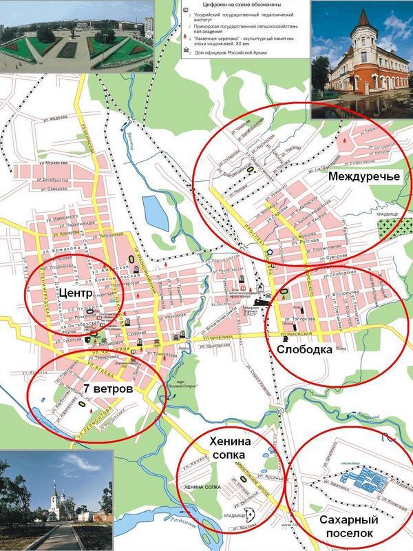 Карта Уссурийска