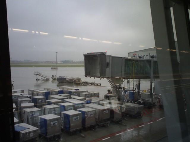 Аэропорт Варшавы из окна зала ожидания
