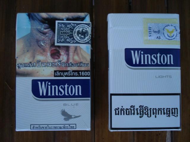 Тайские сигареты (слева) и камбоджийские (справа)