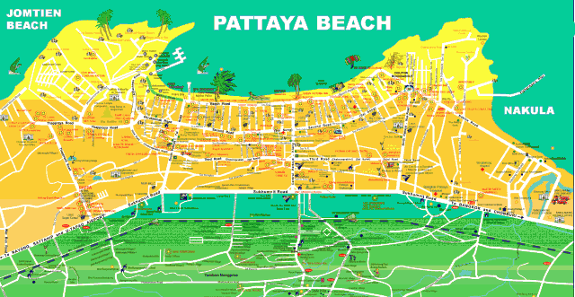 Карта Паттайи – длинного и широкого города