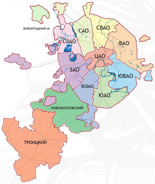 Новые округа Москвы «испортили» привычный вид карты столицы
