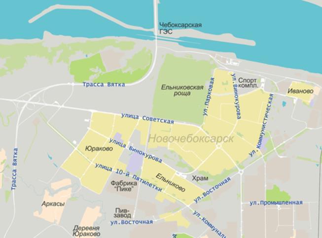 Карта города Новочебоксарск