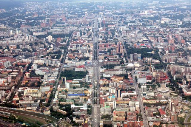 Новосибирск из-под облаков. Центральная часть
