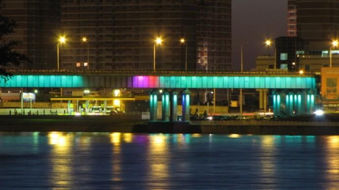 Краснодар. Вечерний Тургеневский мост на реке Кубань