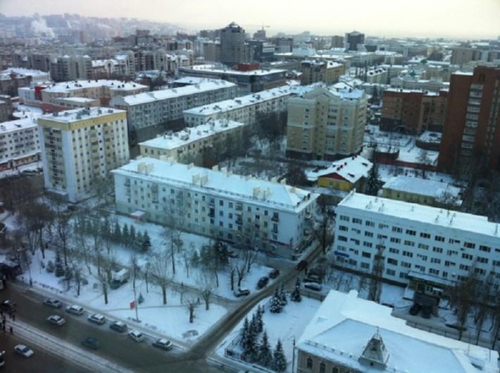 Вид на город с 19-го этажа (центр Уфы)