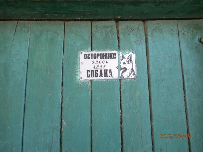 Даже на табличке собака не выглядит злой