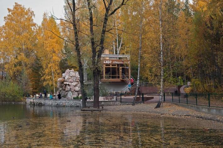 Кафе у озера в Новосибирском Зоопарке