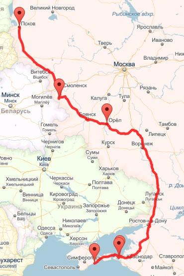 Наш маршрут на карте