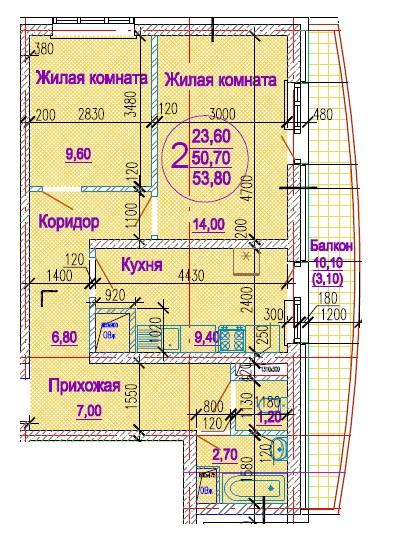 Планировка 2-к кв площадью 53,8 м2