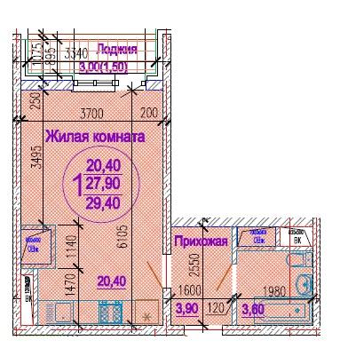Планировка студии 29,4 м2