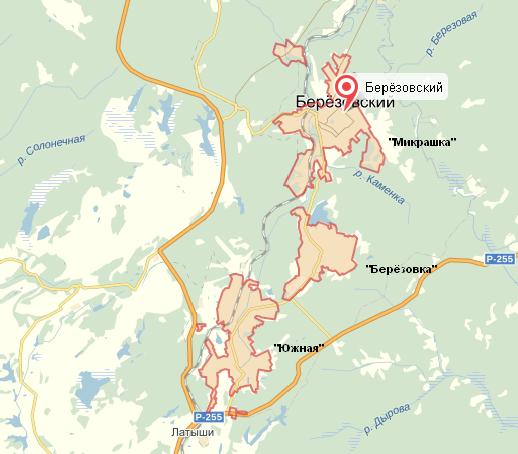 Карта районов Березовского