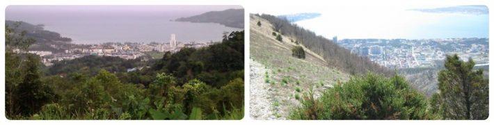 Слева: вид на пляж Карон на Пхукете, справа: вид на центр Геленджика