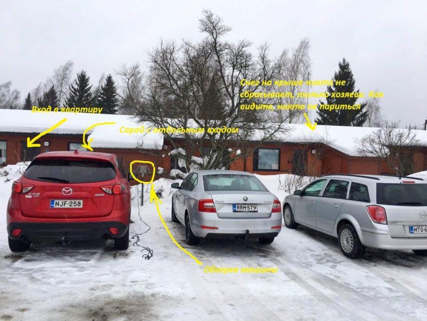 Парковка около дома. Каждой квартире положено по 1-2 парковочным местам в зависимости от размера квратиры
