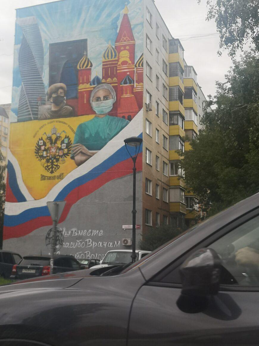 В благодарность и в поддержку врачей украсили фасад дома напротив больницы