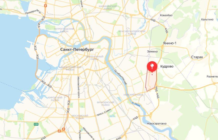 Кудрово на карте Санкт-Петербурга