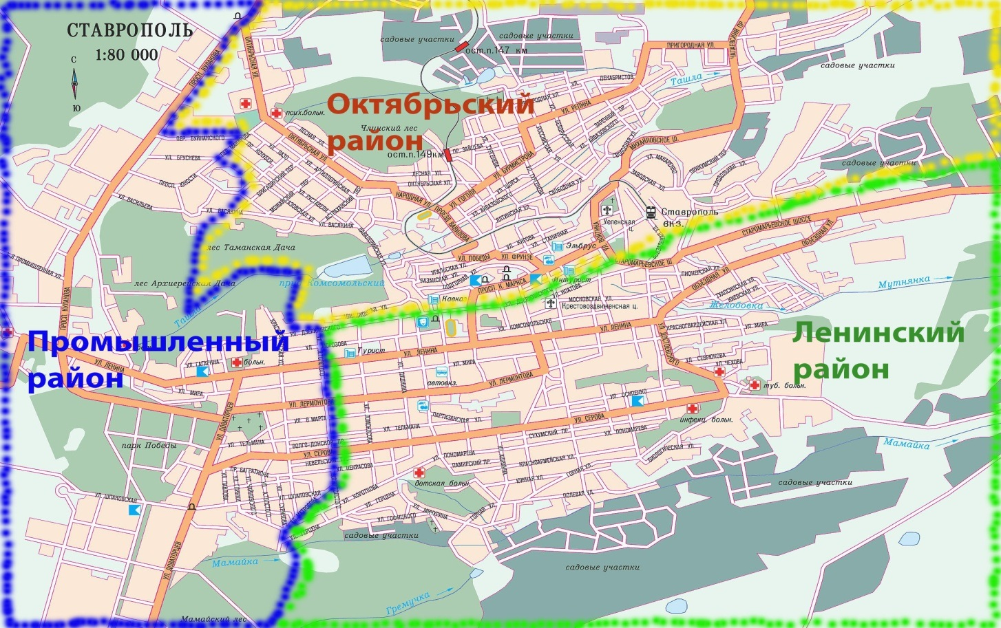 Карта Ставрополя