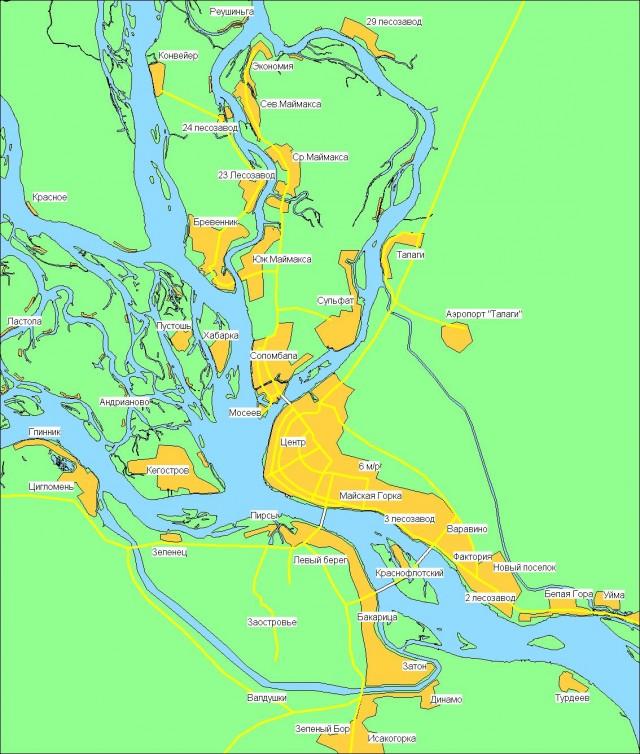 Карта Архангельска