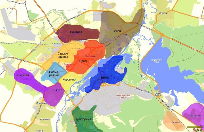 Карта районов Липецка