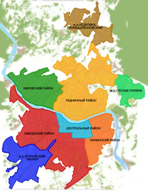Карта районов Кемерова