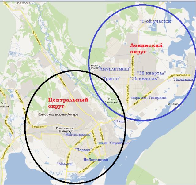 Карта Комсомольска-на-Амуре