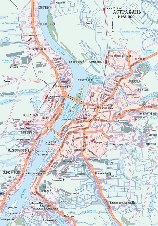 Карта Астрахани