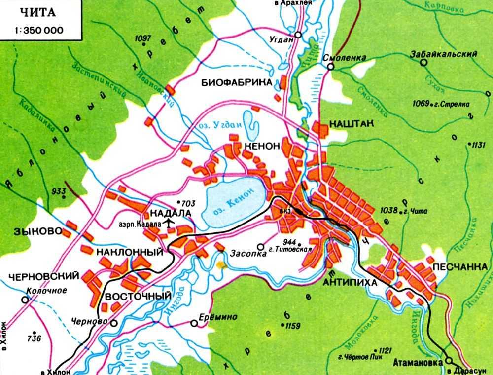 Карта-схема Читы