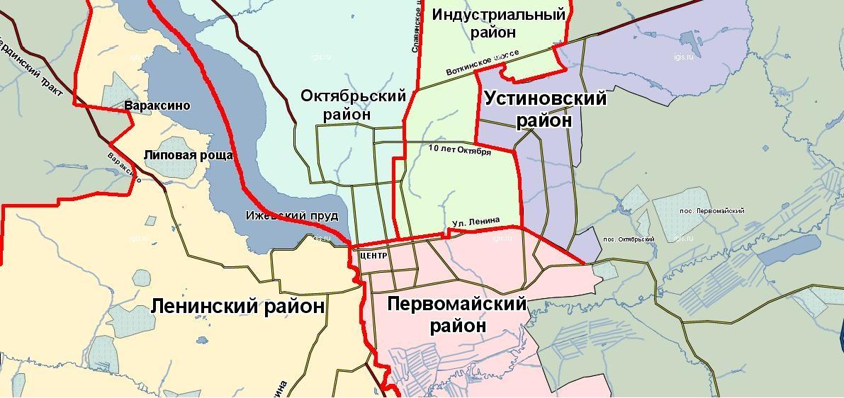 Карта районов Ижевска